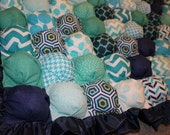 Custom Order for Ashley R - Bubble Blanket - Biscuit Quilt - Blue Green and Turquoise with Navy Ruffle and Grey Backing