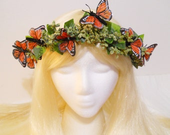 Butterfly Flower Crown Head Wreath Monarch Butterflies Costume Forest Green Moss Ivy Woodland Wedding Headdress Flower Girl Fairy Elf Gaia