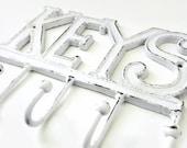 Wall Key Holder. White Metal Storage. Rustic Modern Decor. Decorative Hooks. Cast Iron Hook. Keys Hanger. Housewarming Gift Under 25