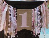 1st Birthday High Chair Banner with Streamers // Shabby Chic // Burlap and Lace