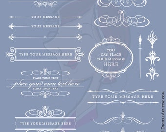 Digital Flourish Frames Clip Art White Borders Wedding Scrapbook Supply Text Dividers Oval Fancy Frame Label Tags COMMERCIAL USE 10293