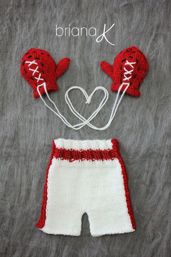 Knitting Pattern Boxing Gloves : PATTERN Instant Download, Newborn Knit Baby Boxer Gloves and Boxing Shorts fr...