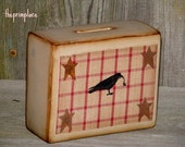 Handpainted Ceramic Primitive Piggy Bank