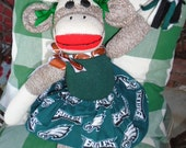 Philadelpohia Eagles Football Brown Red Heel Sock Monkey Girl Doll