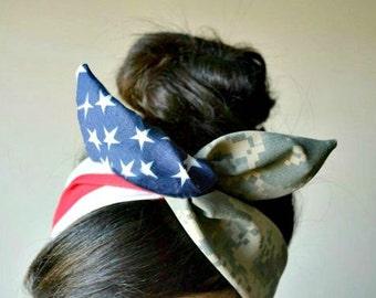 ACU American flag Camo Dolly bow, Military American Flag head band, hair bow, A1