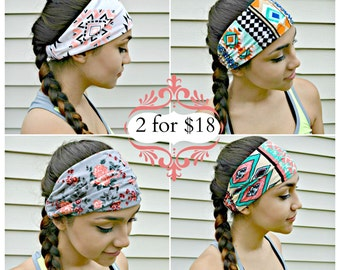 Workout casual Head Wrap, Aztec floral hippie Head Band, A1