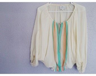 vintage silk batwing blouse S