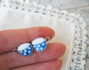 Earrings, Tiny Blue tea cup Studs , Teacup earrings, Stud earrings, Polka dots Mug of tea, Tea party, Coffee earrings, kawaii jewelry