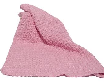 Baby Blanket, Crochet Baby Afghan, Pink Baby Blanket with Bling