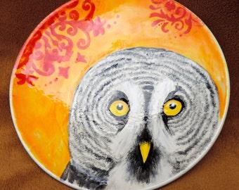 Great Gray Owl dessert plate