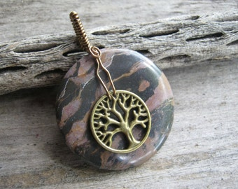 Tree of Life Gemstone Pendant, Nature Donut Jewelry, Wire Wrapped, Black Jasper Gemstone, Chunky Boho Jewelry CHOOSE Necklace, READY to Ship
