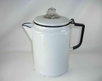 Enamelware Percolator Coffee Pot Vintage White with a Black Rim