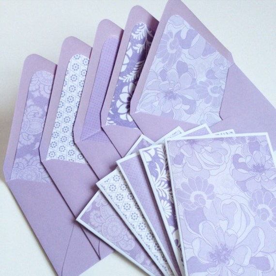 set of 5  blank note cards w matching envelopes  purple
