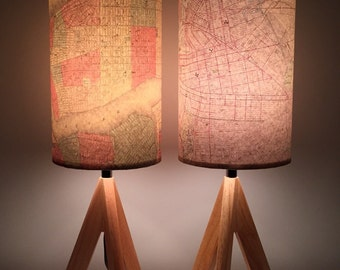 Vintage Style map New York City lamps, Manhattan & Brooklyn, Big Apple, NYC