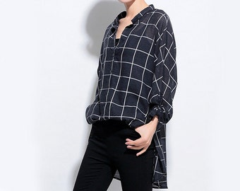 Black Blouse Woman Shirt Checked Blouse Loose Shirt Linen Blouse Cotton Shirt #B05