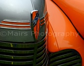 Abstract Chrome Orange Blue Gray Classic Car Home or Office Decor, Fine Art Photography matted & signed 5x7 Original Photograph