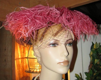 Art Deco PINK Ostrich Feathers Bullocks Hat with G Howard Hodge Hat Box Ladies Hat Bullocks of California Free U.S.A. Shipping