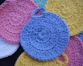 10 Nautilus Facial Scrubbies, 100% Cotton, Cleansing Pad, Makeup Remover, Coasters