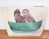 Owl and Pussy Cat Canvas Wash Bag, Large Zipper Pouch, Makeup Bag, Toiletry Bag, Accessory Bag