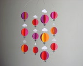 "Hot Air Balloon Mobile ""Nicely Spicy"" - Baby Girl Mobile - Bright Baby Mobile - Crib Mobile - Hot Air Balloon Decoration"