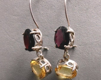 Long Dangle Earrings,  2 Bezels, Red Garnet and Yellow Citrine,, Vintage Style ,Classic, Elegant Woman, For Any Outfit