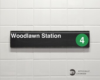 Woodlawn Station - New York City Subway Sign - Wood Sign