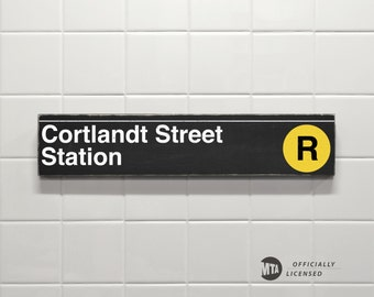 Cortlandt Road Station, Yellow Line - New York City Subway Sign - Hand Painted on Wood
