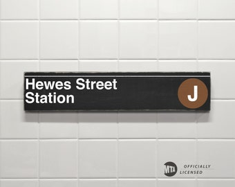 Hewes Street Station - New York City Subway Sign - Wood Sign