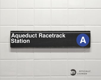 Aqueduct Racetrack Station - New York City Subway Sign - Wood Sign