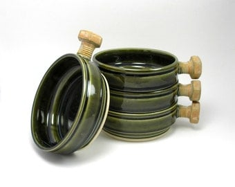 Soup Bowls Pasta bowls Stacking Cereal Rust bolt and Olive Green