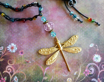 Dragonfly Necklace, Whimsical Jewelry, Dragonfly Necklace, Beaded Crocheted Jewerly