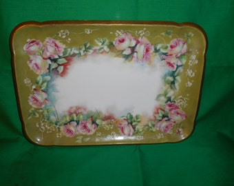 One (1), Porcelain, Hand Painted, Rectangular Vanity Tray, from Chas Field Haviland