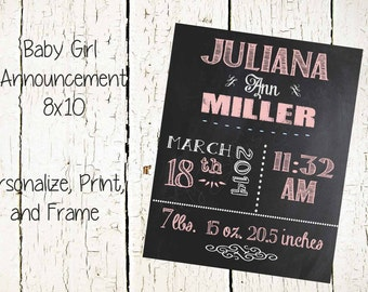 Baby Girl Chalkboard Announcement-8x10 Printable