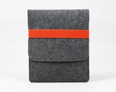 Felt iPad 1 2 3 4 Case New iPad Air Sleeve Bag Cover Wallet Custom Made iPad Holder with Yellow / Orange Band E1146