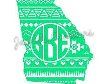 Aztec Georgia Monogram Decal- Aztec State Decal- Custom Personalized Monogram Decal- GA Decal
