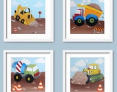 Set of Construction Vehicle Paintings