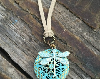 diffuser jewelry, pottery, young living oils diffuser, beaded pottery necklace, diffuser, faux suede necklace, locket, dragonfly
