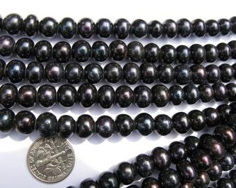 Large Hole Pearls 9-mm  Round Black/ Dark purple  Fresh water Pearl strand free shipping