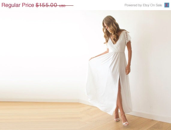 Simple Wedding Dresses With Lace Sleeves: Ivory Wrap Dress With Lace Sleeves, Wedding Simple Gown