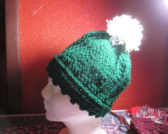 Forest green knitted sock hat