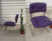 Vintage Steelcase Chrome Purple Chair - Excellent Condition