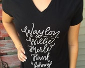Country Music Legend Women's fitted T-Shirt Waylon, Willie, Merle, Hank, Johnny