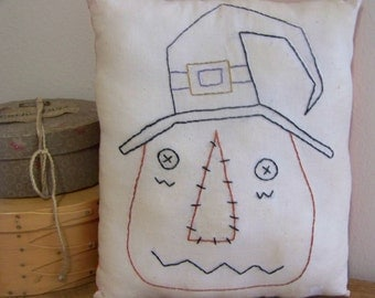Primitive Stitchery Pumpkin Jack Pillow Fall Decor