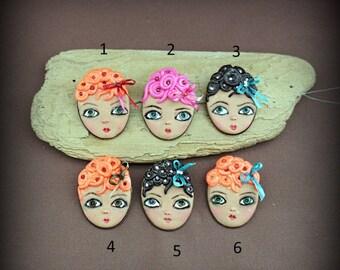 OOAK jewelry brooch fun  Art Doll Face girl  by Kristiina Meiner