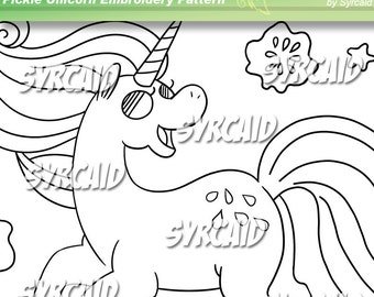 Pickle Unicorn Embroidery Pattern