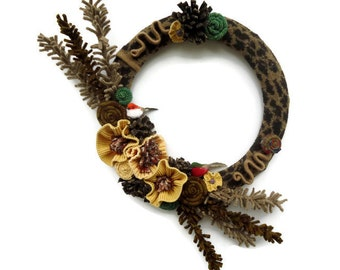 Fall Wool Wreath Thanksgiving Bird Wreath Autumn Animal Print Wreath Yellow and Brown Sweater Wreath