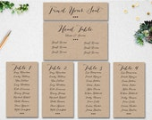 Editable Table Seating Chart - Wedding Template INSTANT DOWNLOAD // Printable // Find Your Seat // Header Card // Table Seating // PDF