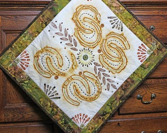 Quilted Wall Hanging, Mixed Media Fiber Art, Horseshoes Min Quilt