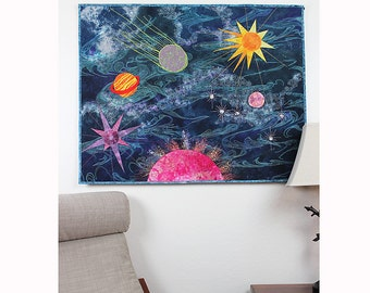 Quilted Wall Hanging Mixed Media Art Quilt Fiber Art Quilt, Planets and Space