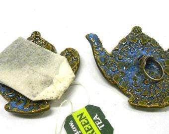Teapot Ring Dish, Tea Bag Holder, Teabag Rest, Teaspoon Rest, Ceramic Ring Dish, Pottery Ring Dish, Teabag Holder, Two in Blue and Green